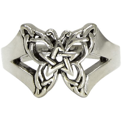 Sterling Silver Butterfly Pentacle Toe Ring