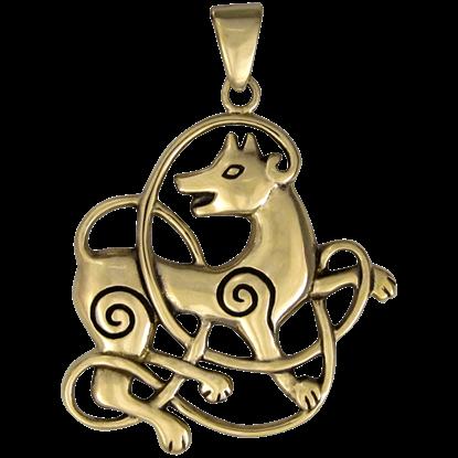 Bronze Celtic Knot Wolf Pendant