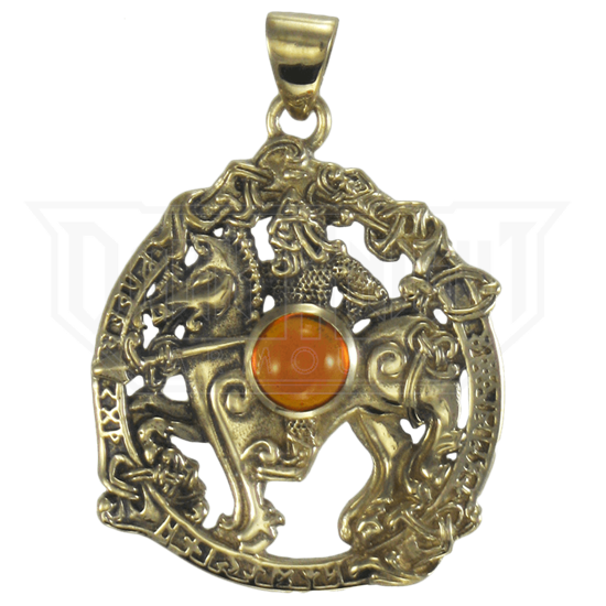 Bronze Odin Pendant with Amber Accent