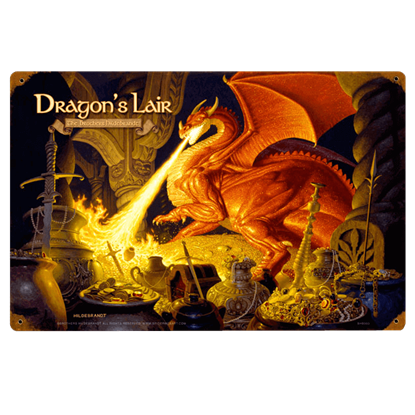 Dragons Lair LOTR Vintage Metal Sign