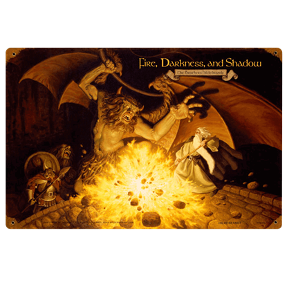 Fire, Darkness, and Shadow LOTR Vintage Metal Sign