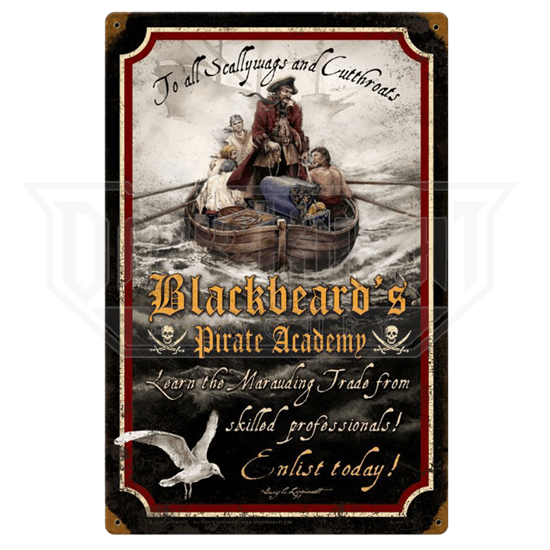 Pirate Academy Vintage Metal Sign