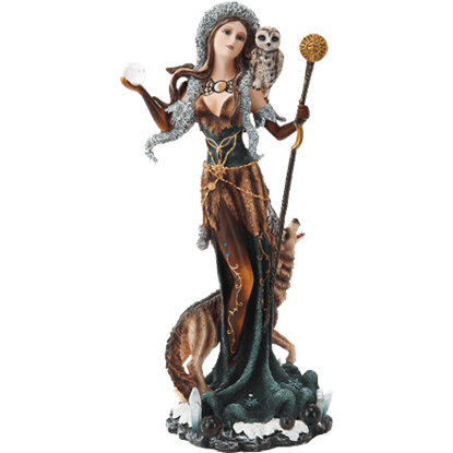 Celestial Witch with Wolf Statue