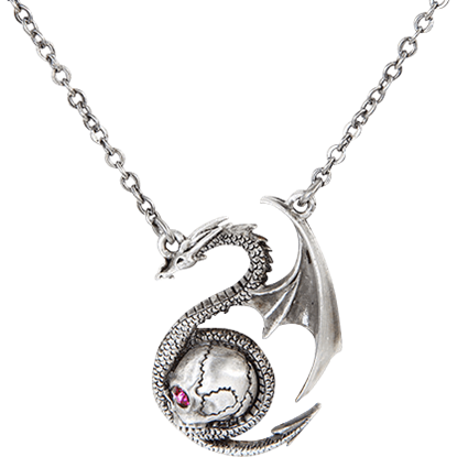 Wyvern with Skull Necklace