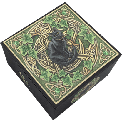 Black Cat with Pentagram Trinket Box