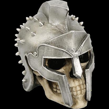 Spiked Helmet Skull Statue