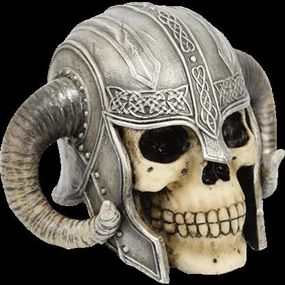 Ram Horn Helmet Skull Statue