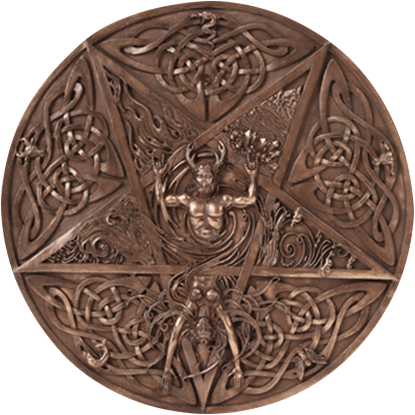 Bronze Horned God and Goddess Elemental Plaque