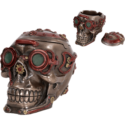 Dark Steampunk Skull Trinket Box
