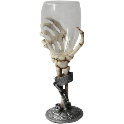 Chained Skeleton Hand Wine Glass