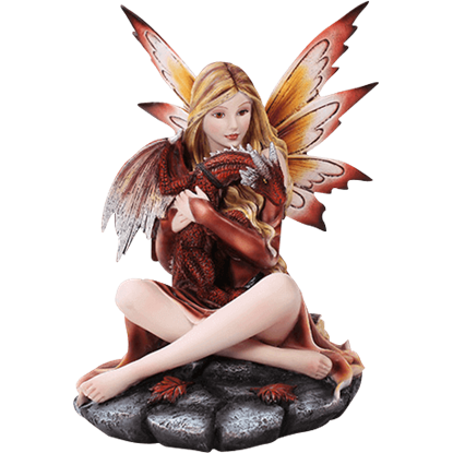 Autumnal Fairy with Baby Dragon Statue