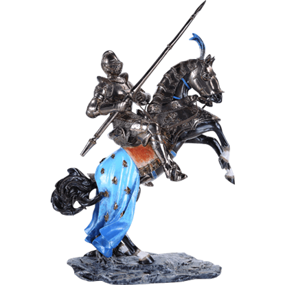 Metallic Medieval Knight on Rampant Horse Statue