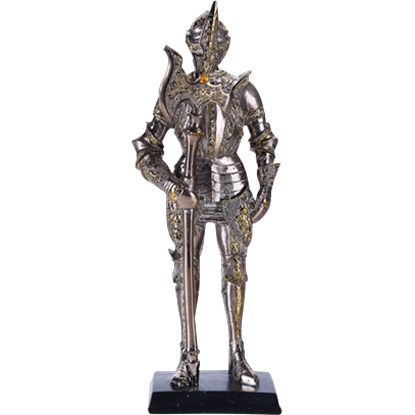 Armoured Medieval Knight with Halberd Statue