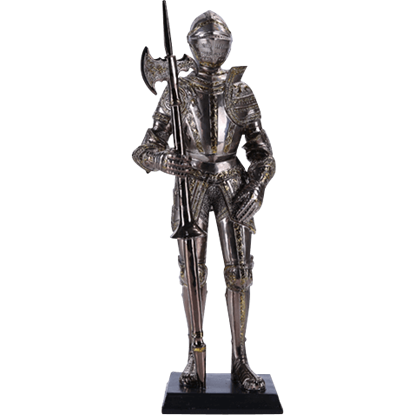 Armoured Knight with Halberd Statue