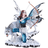 Arctic Fairy Archer with Wolf Statue