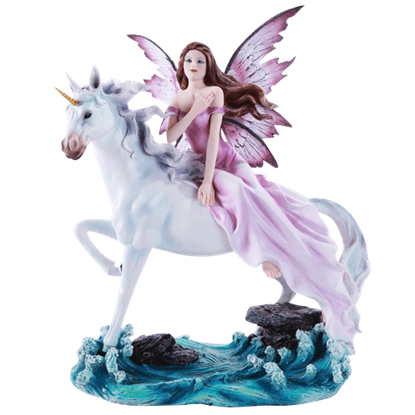 Amidst the Waves Unicorn and Fairy Statue