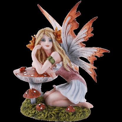 Autumn Leaf Toadstool Fairy Statue
