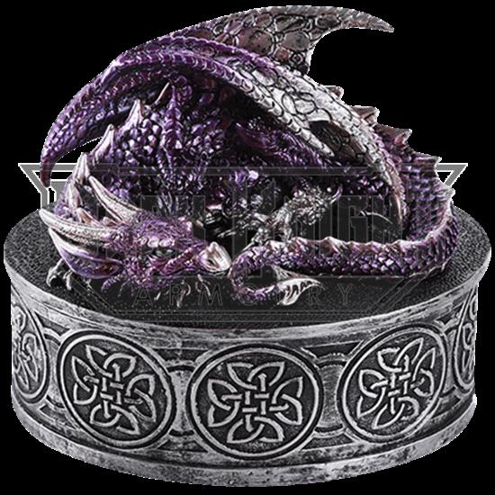 Celtic Purple Dragon Trinket Box