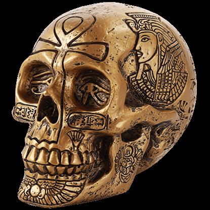 Golden Egyptian Hieroglyph Skull