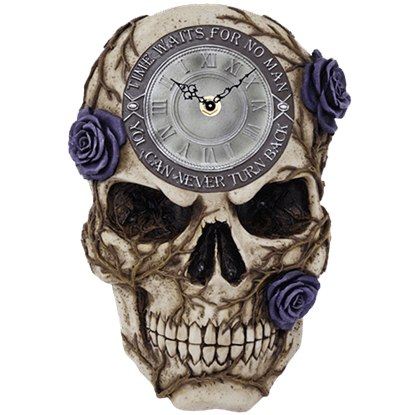 Purple Rose Skull Clock