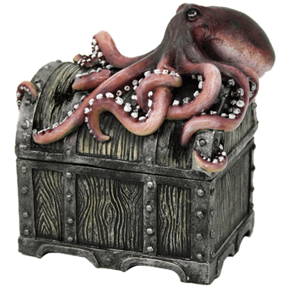 Octopus Pirate Chest Trinket Box