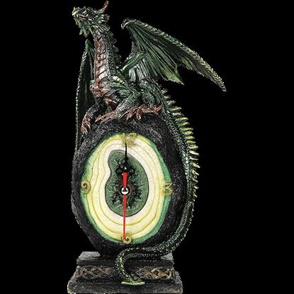 Green Geode Dragon Desk Clock