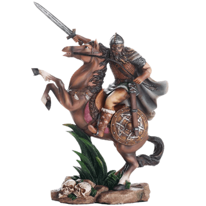 Full Color Mounted Viking Warrior Statue