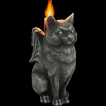 Ferocious Feline Gargoyle Candleholder