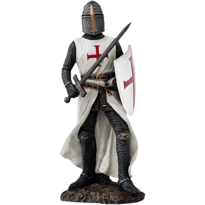 Crusader Knight with Sword and Shield Statue