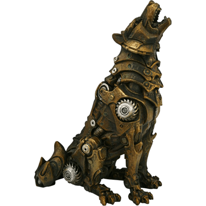 Howling Steampunk Wolf Statue