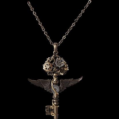 Winged Steampunk Key Necklace