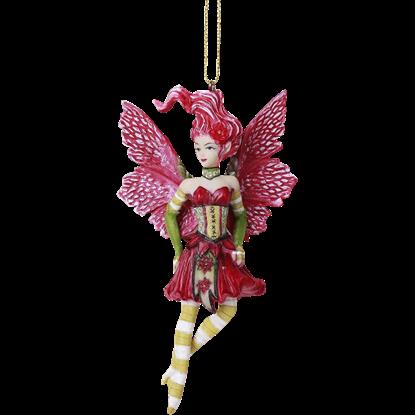Poinsettia Fairy Hanging Ornament