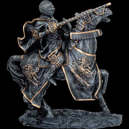 Dark Stone Jousting Knight Statue