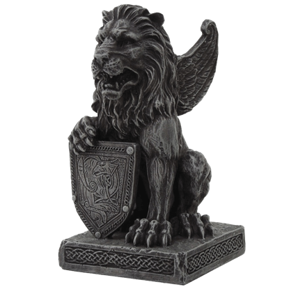 Lion Gargoyle With Shield Statue