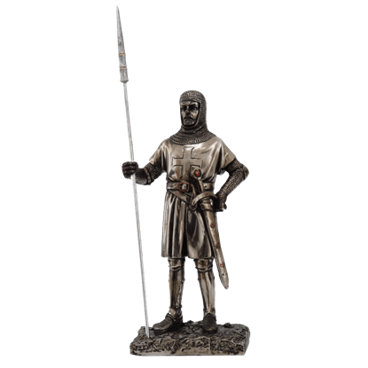 Crusader Knight with Spear Statue