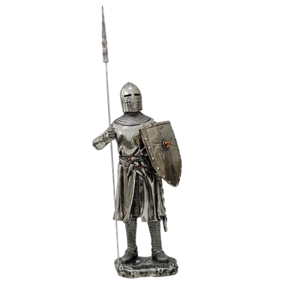 Armoured Crusader Knight With Spear Statue