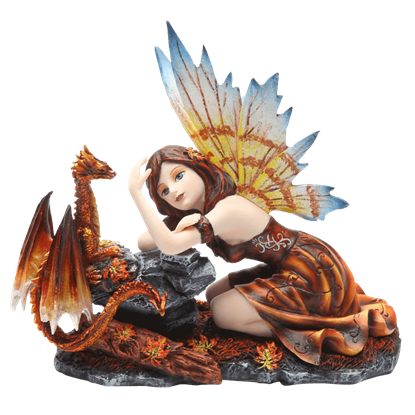 Autumn Fairy with Dragon Statue