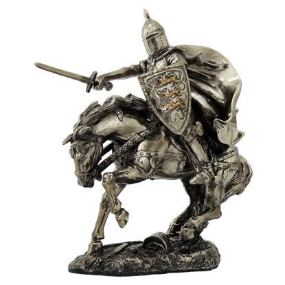 Charging Mounted Medieval Knight Statue