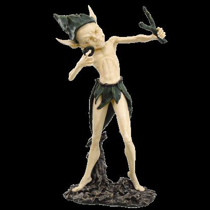 Garden Goblin with Slingshot Statue