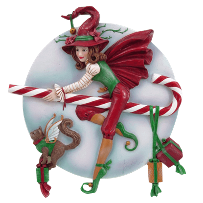 Flying Candy Cane Witch Statue