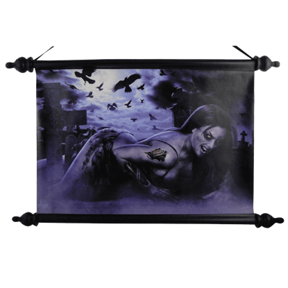 Graveyard Zombie Girl Art Scroll