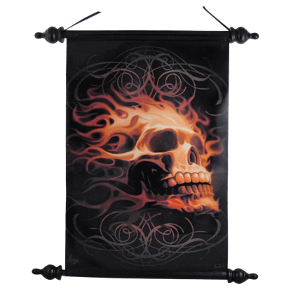 Ornate Fire Skull Art Scroll