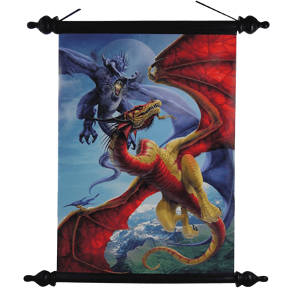 Slash and Burn Battling Dragons Art Scroll