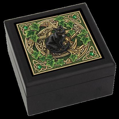 Pentagram and Black Cat Tile Box