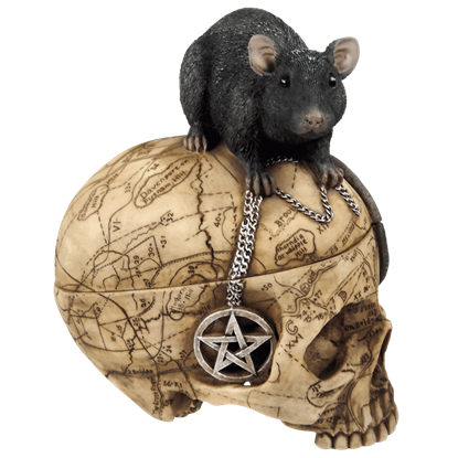 Etched Salem Witch Skull and Mouse Box
