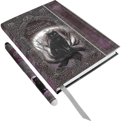 Black Cat Embossed Spell Book with Pen