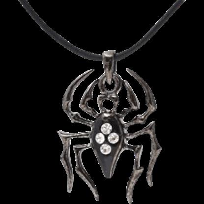Black Gem Spider Necklace