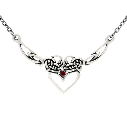 Red Jeweled Celtic Heart Necklace