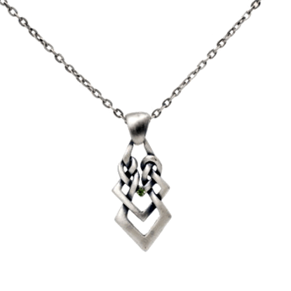 Celtic Necklace with Green Gem