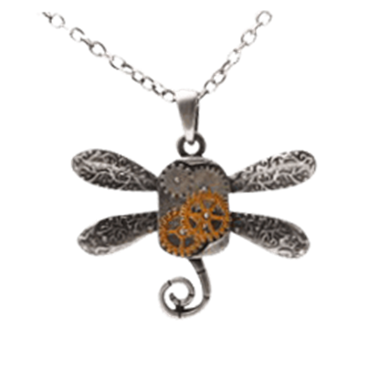 Mechanical Dragonfly Steampunk Necklace